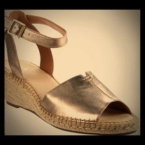 Clark's Artisan Leather Espadrille Wedge Sandals